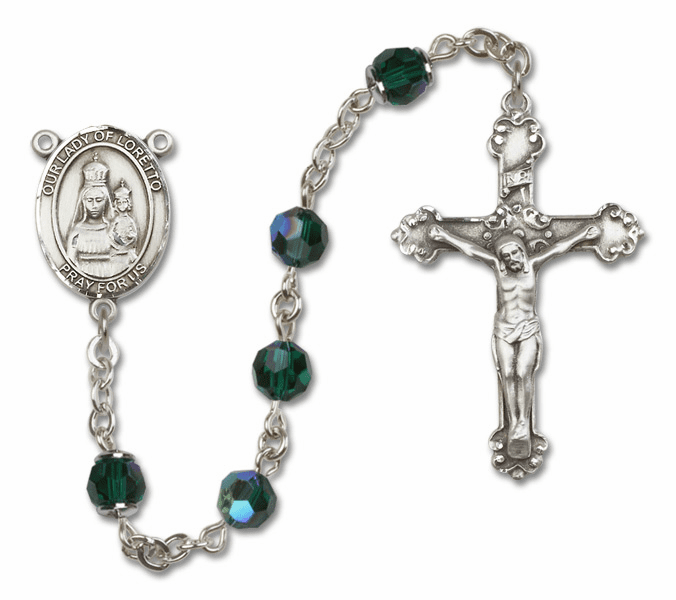 Bliss Fancy Our Lady of Loretto Sterling and Gold Emerald Swarovski Rosaries