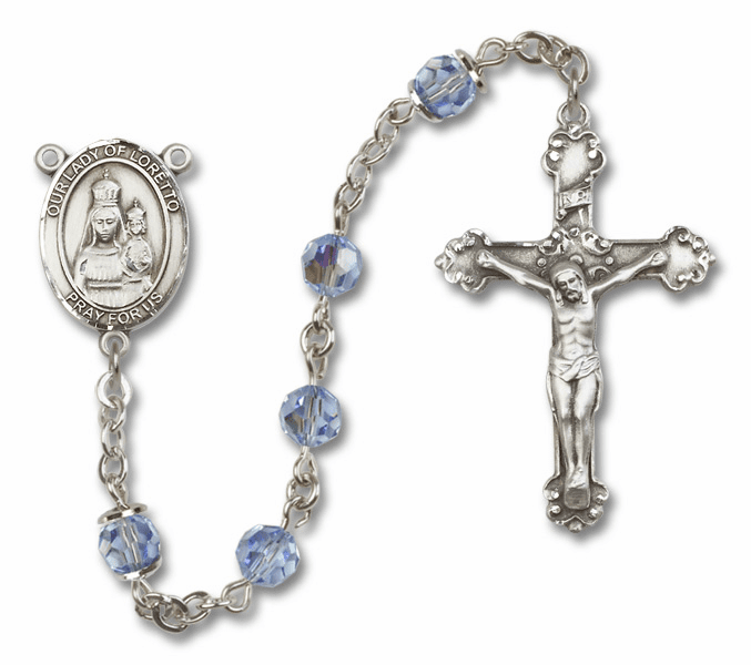 Bliss Fancy Our Lady of Loretto Sterling and Gold Lt Amethyst Swarovski Rosaries
