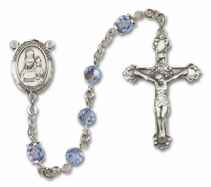 Bliss Fancy Our Lady of Loretto Sterling and Gold Lt Sapphire Swarovski Rosaries