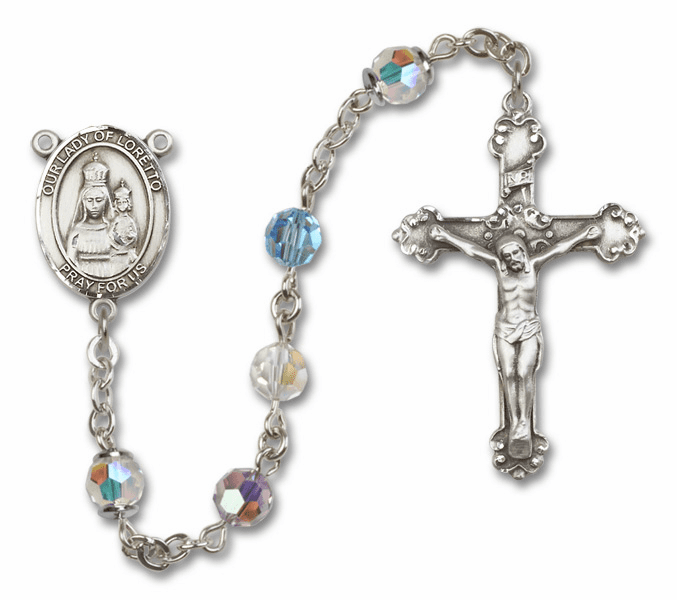 Bliss Fancy Our Lady of Loretto Sterling and Gold Multi-Color Swarovski Rosaries