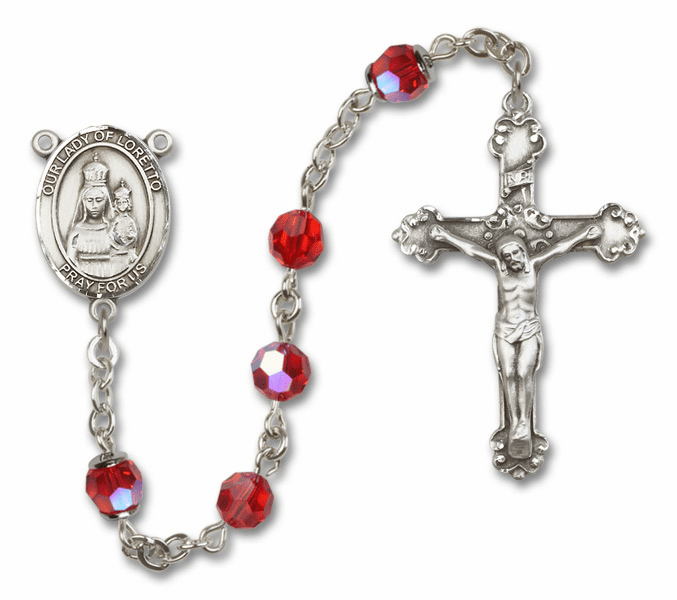 Bliss Fancy Our Lady of Loretto Sterling and Gold Ruby Swarovski Rosaries
