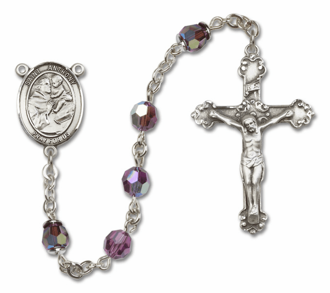 Bliss Fancy St Anthony of Padua Sterling and Gold Amethyst Crystal Rosaries