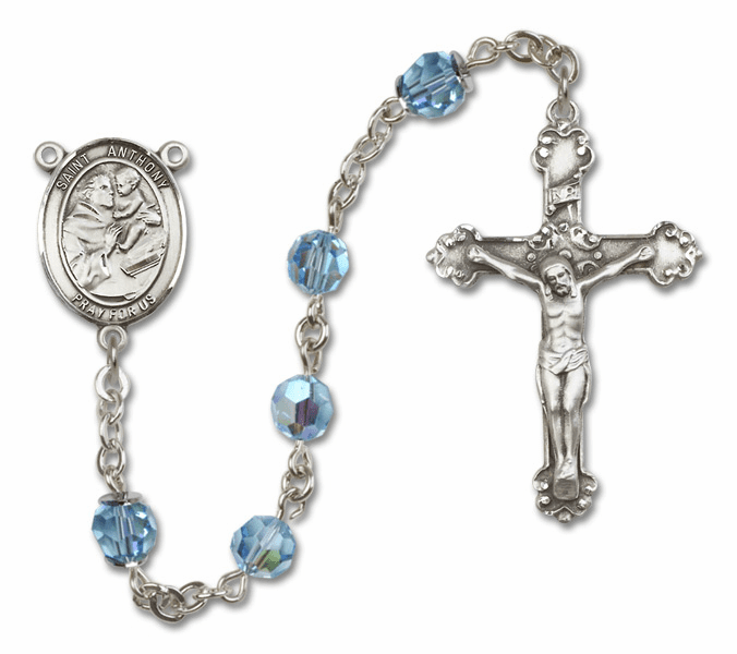 Bliss Fancy St Anthony of Padua Sterling and Gold Aqua Swarovski Rosaries