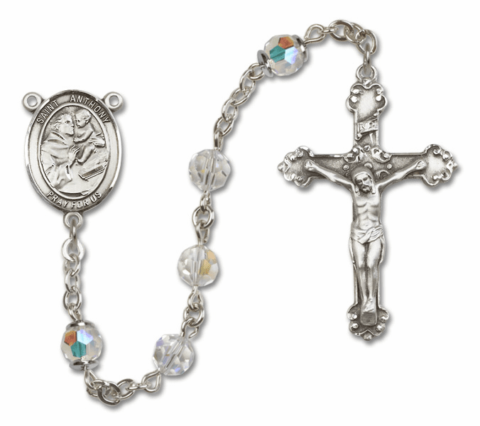 Bliss Fancy St Anthony of Padua Sterling and Gold Crystal Swarovski Rosaries
