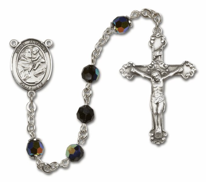 Bliss Fancy St Anthony of Padua Sterling and Gold Jet Black Swarovski Rosaries