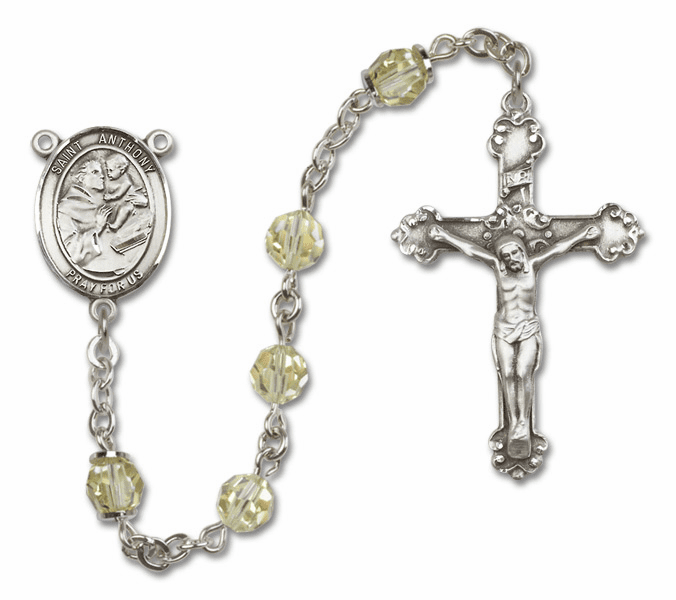 Bliss Fancy St Anthony of Padua Sterling and Gold Jonquil Swarovski Rosaries