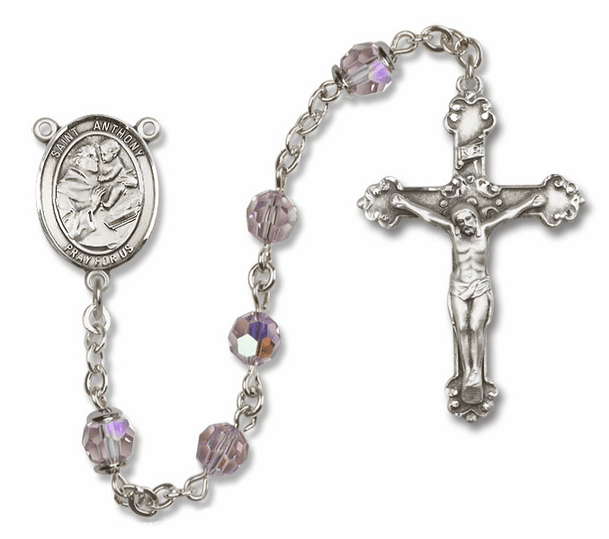 Bliss Fancy St Anthony of Padua Sterling and Gold Lt Amethyst Swarovski Rosaries