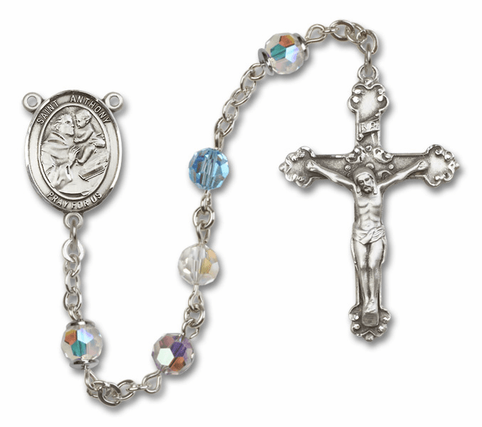 Bliss Fancy St Anthony of Padua Sterling and Gold Multi-Color Swarovski Rosaries