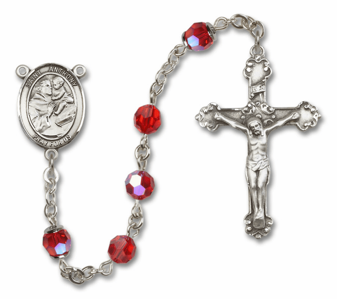 Bliss Fancy St Anthony of Padua Sterling and Gold Ruby Swarovski Rosaries