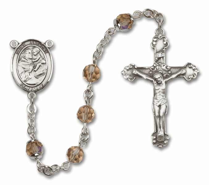 Bliss Fancy St Anthony of Padua Sterling and Gold Topaz Swarovski Rosaries