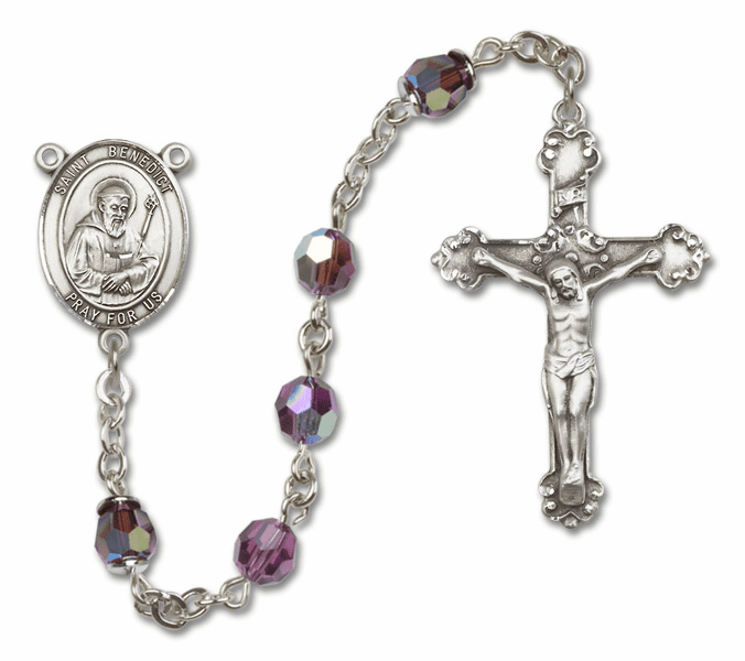 Bliss Fancy St Benedict Sterling and Gold Amethyst Swarovski Rosaries
