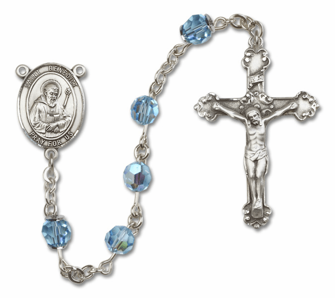 Bliss Fancy St Benedict Sterling and Gold Aqua Swarovski Rosaries