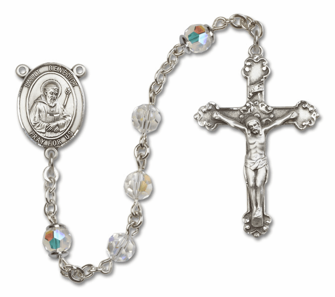 Bliss Fancy St Benedict Sterling and Gold Crystal Swarovski Rosaries