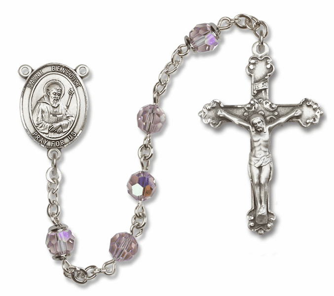 Bliss Fancy St Benedict Sterling and Gold Lt Amethyst Swarovski Rosaries