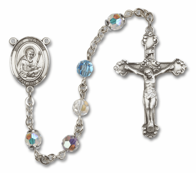 Bliss Fancy St Benedict Sterling and Gold Multi-Color Swarovski Rosaries
