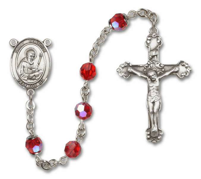 Bliss Fancy St Benedict Sterling and Gold Ruby Swarovski Rosaries