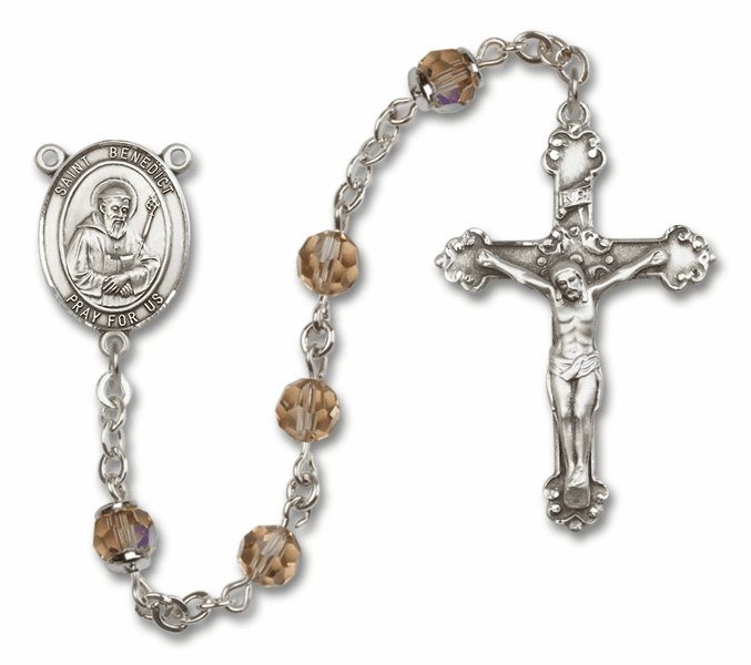 Bliss Fancy St Benedict Sterling and Gold Topaz Swarovski Rosaries