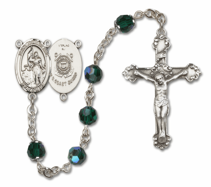 Bliss Mfg Fancy St Joan of Arc Coast Guard Military Sterling Silver Emerald Swarovski Rosary