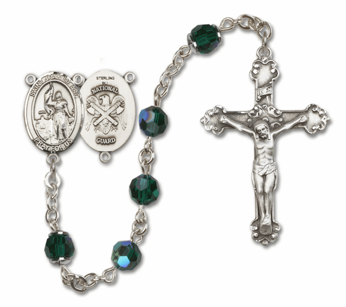 Bliss Mfg Fancy St Joan of Arc National Guard Military Sterling Silver Emerald Swarovski Rosary