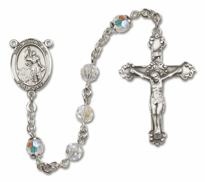 Bliss Fancy St Joan of Arc Sterling and Gold Crystal Swarovski Rosaries