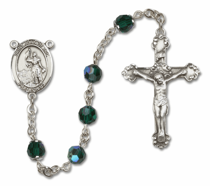 Bliss Fancy St Joan of Arc Sterling and Gold Emerald Swarovski Rosaries