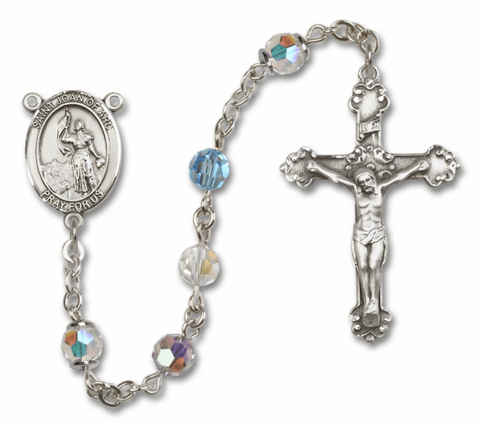 Bliss Fancy St Joan of Arc Sterling and Gold Multi-Color Swarovski Rosaries
