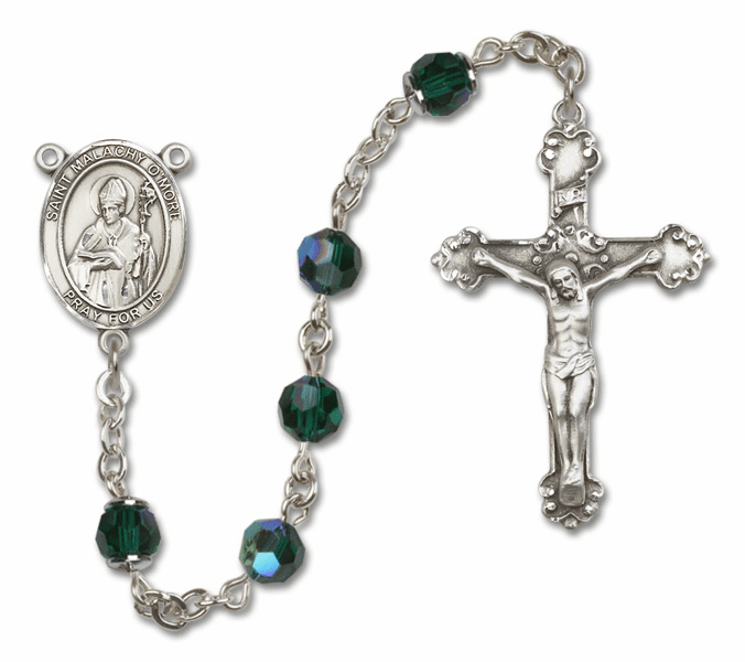 Bliss Mfg Fancy St Malachy O'More Sterling Silver Emerald Swarovski Rosary