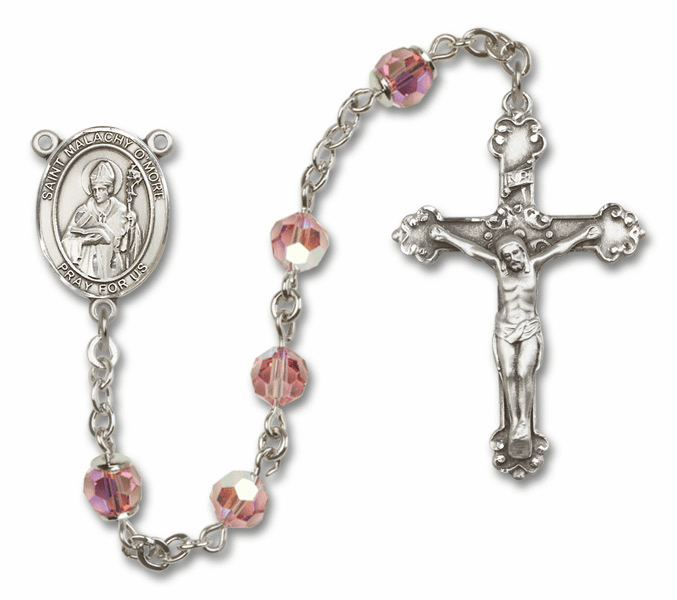 Bliss Mfg Fancy St Malachy O'More Sterling Silver Lt Rose Swarovski Rosary