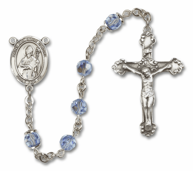 Bliss Mfg Fancy St Malachy O'More Sterling Silver Lt Sapphire Swarovski Rosary