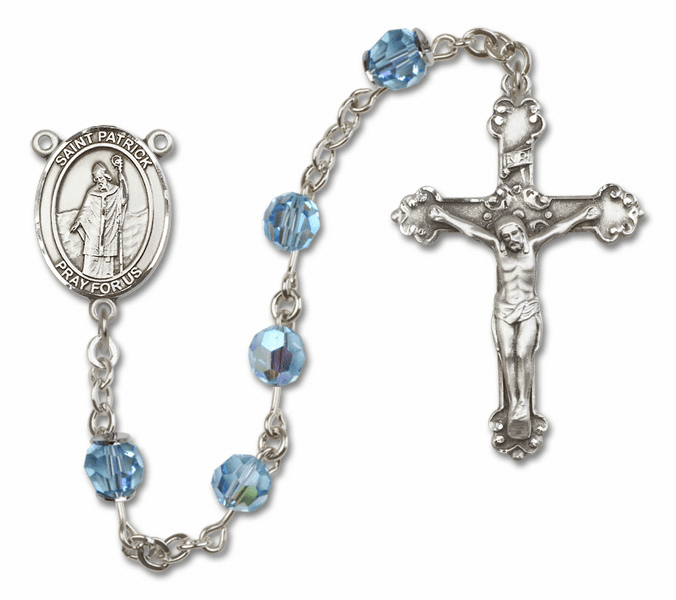 Bliss Mfg Fancy St Patrick Sterling Silver Aqua Swarovski Rosary