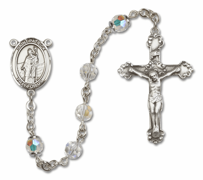 Bliss Mfg Fancy St Patrick Sterling Silver Crystal Swarovski Rosary