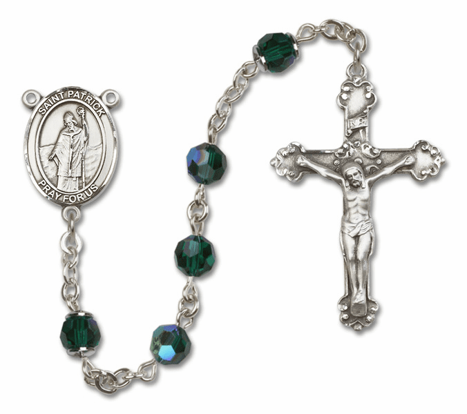Bliss Mfg Fancy St Patrick Sterling Silver Emerald Swarovski Rosary