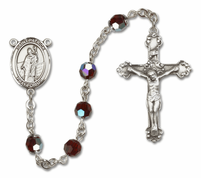 Bliss Mfg Fancy St Patrick Sterling Silver Garnet Swarovski Rosary