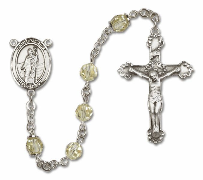 Bliss Mfg Fancy St Patrick Sterling Silver Jonquil Swarovski Rosary