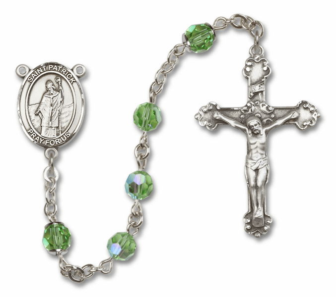 Bliss Mfg Fancy St Patrick Sterling Silver Peridot Swarovski Rosary