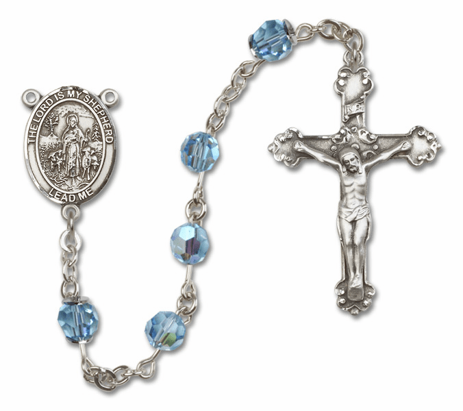 Bliss Mfg Fancy The Lord is My Shepherd Sterling Silver Aqua Swarovski Rosary