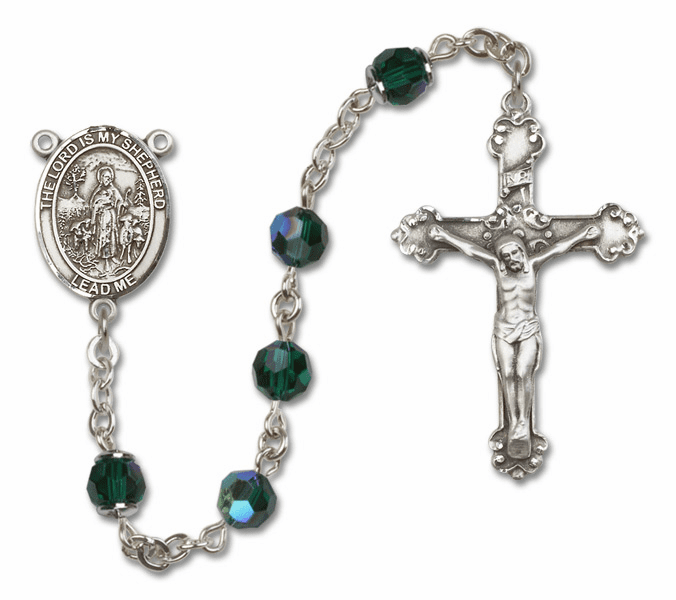 Bliss Mfg Fancy The Lord is My Shepherd Sterling Silver Emerald Swarovski Rosary