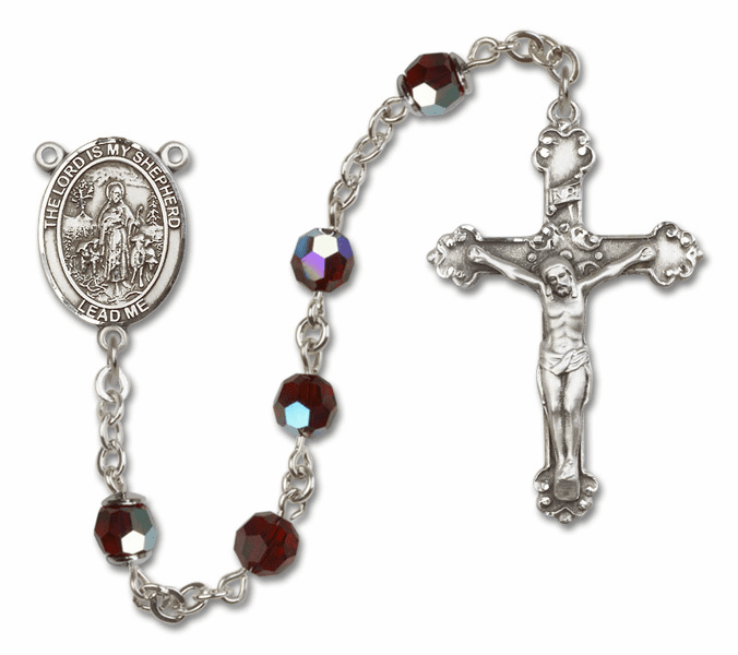 Bliss Mfg Fancy The Lord is My Shepherd Sterling Silver Garnet Swarovski Rosary