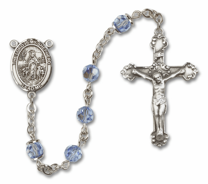 Bliss Mfg Fancy The Lord is My Shepherd Sterling Silver Lt Sapphire Swarovski Rosary