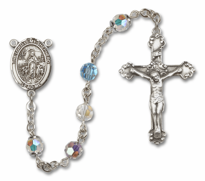 Bliss Mfg Fancy The Lord is My Shepherd Sterling Silver Multi-Color Swarovski Rosary