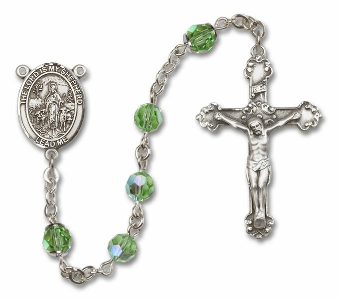 Bliss Mfg Fancy The Lord is My Shepherd Sterling Silver Peridot Swarovski Rosary