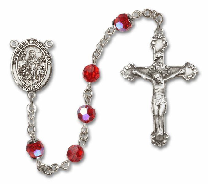 Bliss Mfg Fancy The Lord is My Shepherd Sterling Silver Ruby Swarovski Rosary