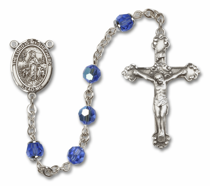 Bliss Mfg Fancy The Lord is My Shepherd Sterling Silver Sapphire Swarovski Rosary