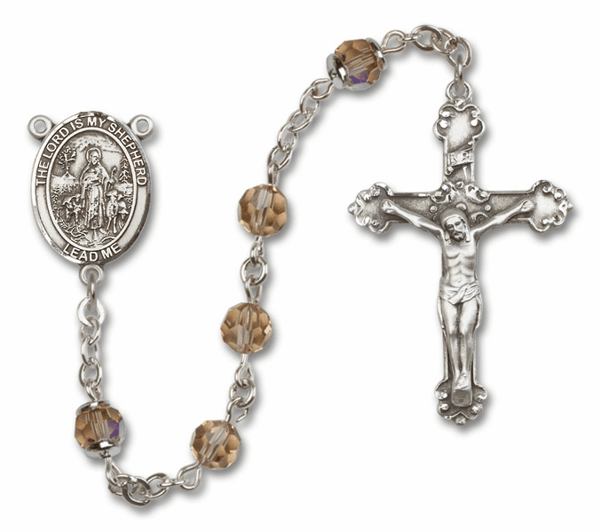 Bliss Mfg Fancy The Lord is My Shepherd Sterling Silver Topaz Swarovski Rosary