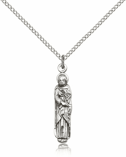 Bliss Mfg Figure St Joseph Sterling Silver Medal Pendant Necklace