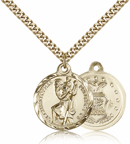 Bliss Mfg Gold-filled St Christopher US Air Force Military Patron Saint Medal Necklace