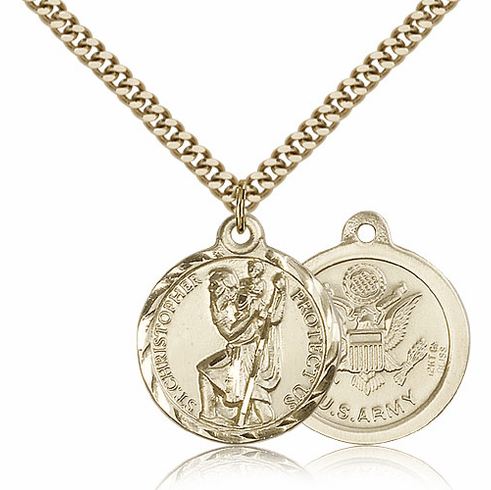 Bliss Mfg Gold-filled St Christopher US Army Military Patron Saint Medal Necklace