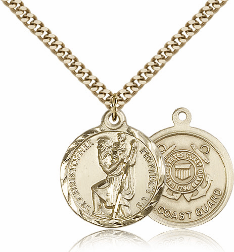 Bliss Mfg Gold-filled St Christopher US Coast Guard Military Patron Saint Medal Necklace