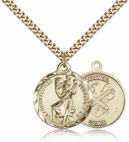 Bliss Mfg Gold-filled St Christopher US National Guard Military Patron Saint Medal Necklace