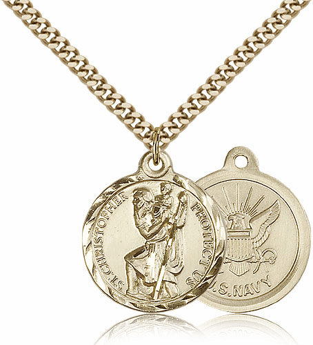 Bliss Mfg Gold-filled St Christopher US Navy Military Patron Saint Medal Necklace